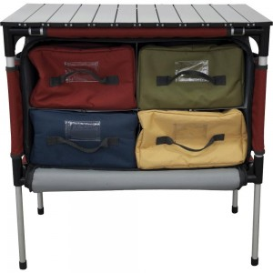 A light table with compartments to keep you things organized or to store a portable stove.