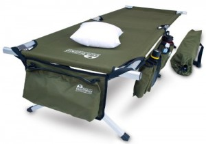 Earth Products Jamboree Military Style Folding Camping Cot with Free Side Storage Bag System and Pillow