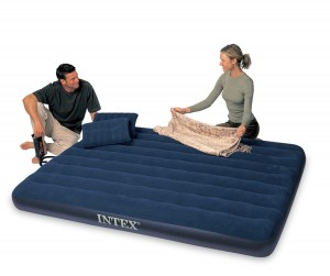 Intex Classic Downy Queen Camp Bed with 2 Pillows and Double Quick Hand Pump